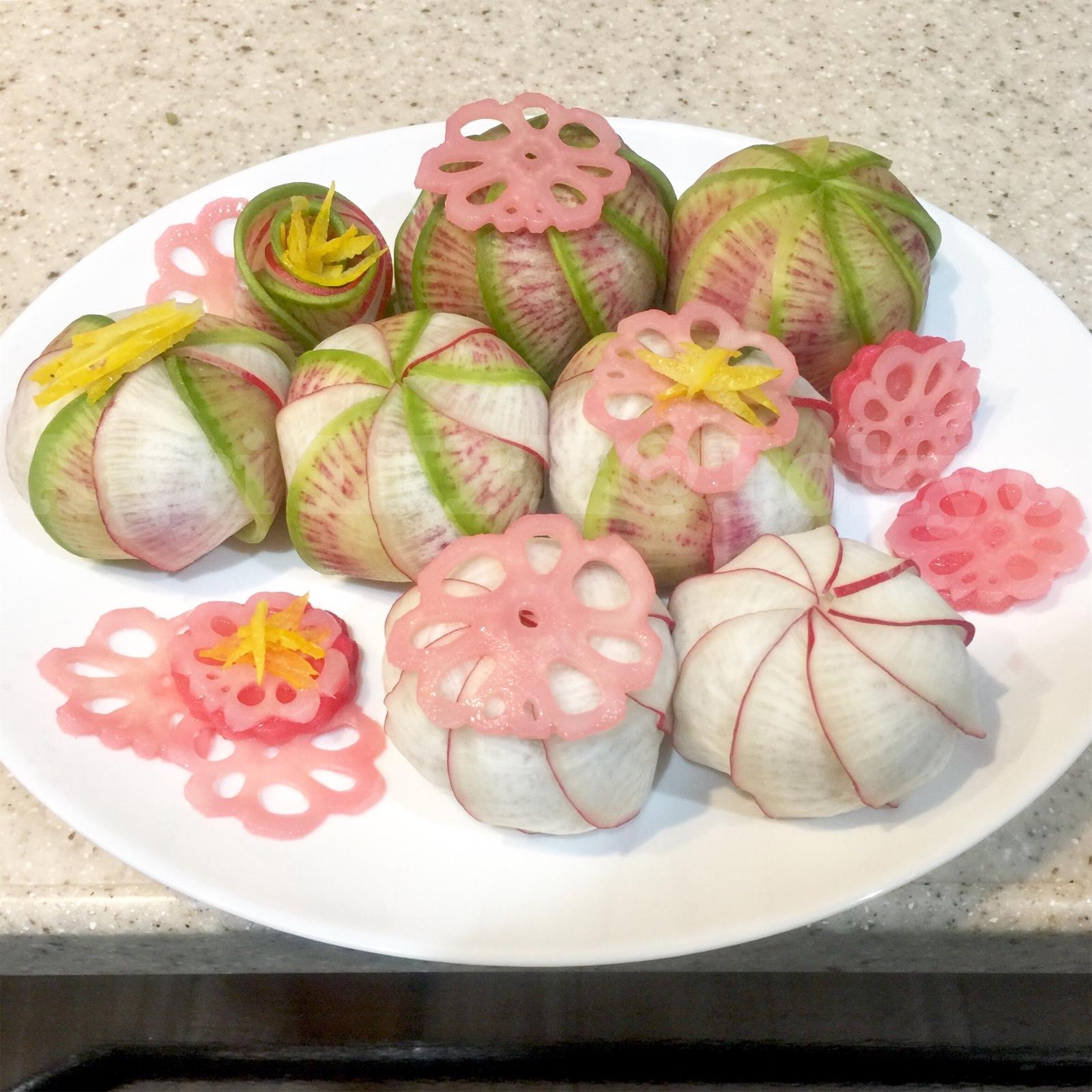 野菜手毬寿司(サラダ大根紅・サラダ紅芯大根)